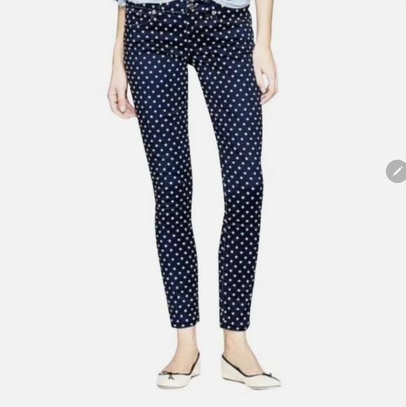 J Crew Womens Toothpick Navy Blue Dots Skinny Jeans